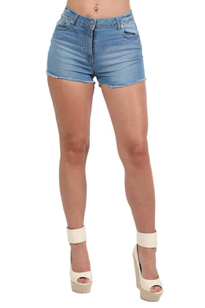 Frayed Hem Denim Hotpant Shorts in Denim 4