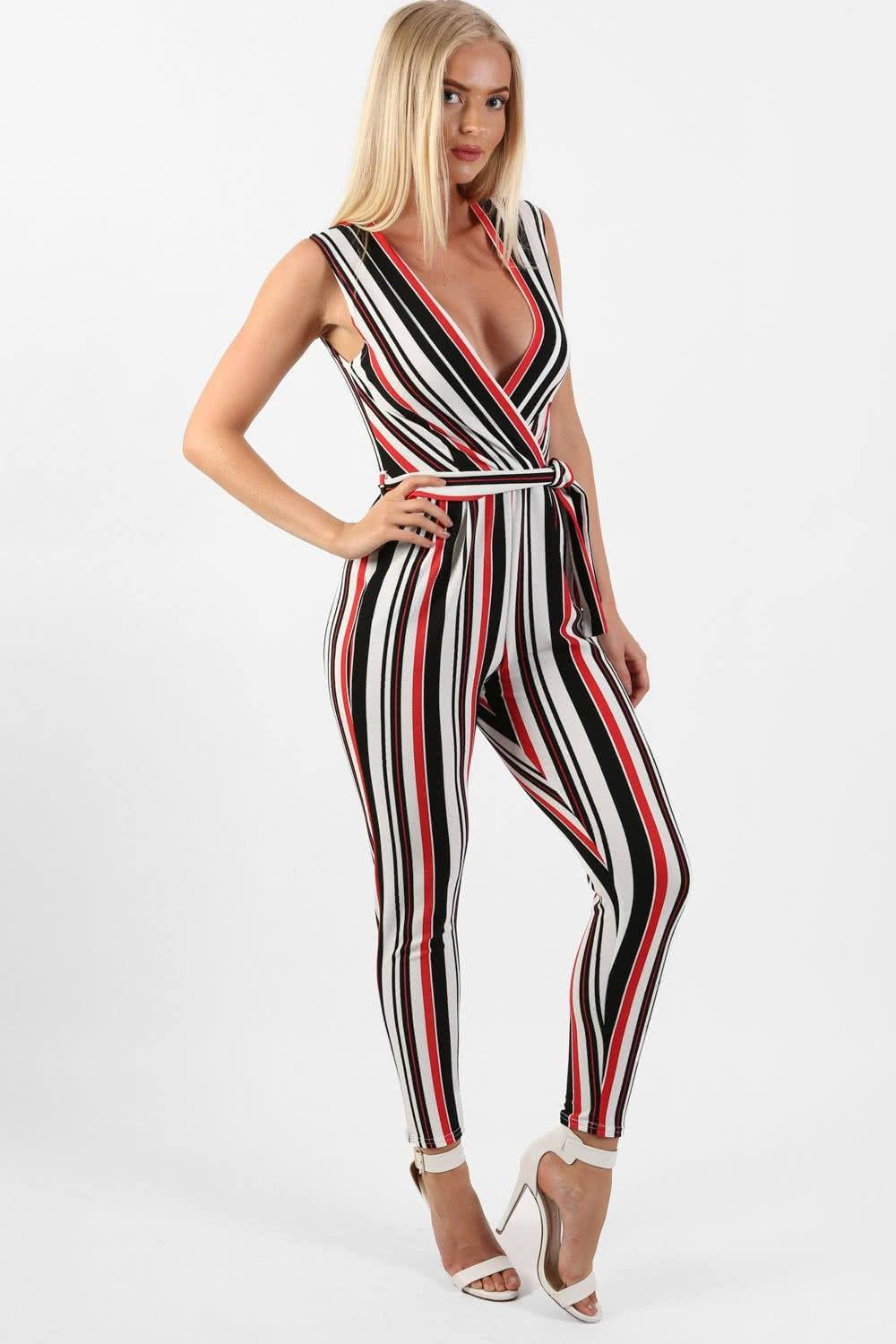 Stripe Wrap Front Jumpsuit in White 0