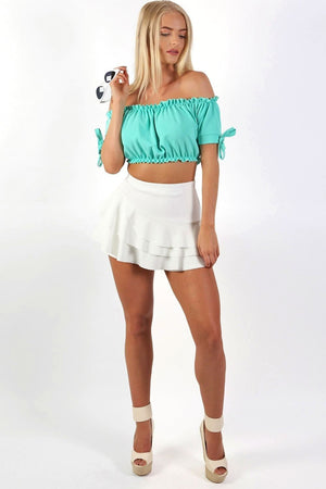 Multi Layer Plain Frill Skort in Cream 2