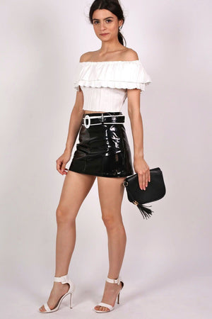 Vinyl Belted Mini Skirt in Black 0