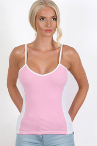 Activewear Panel Vest Top in Pale Pink 1