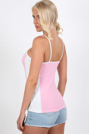 Activewear Panel Vest Top in Pale Pink 2