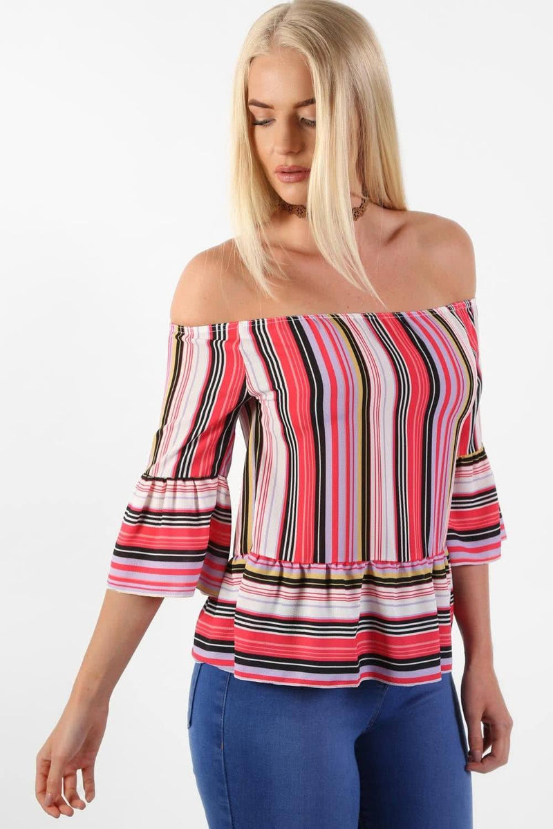 Candy Stripe Bardot Peplum Hem And Sleeve Top in Red 0