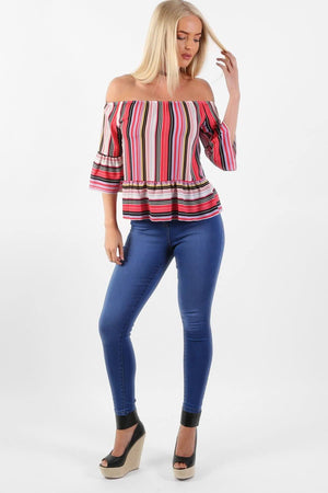 Candy Stripe Bardot Peplum Hem And Sleeve Top in Red 2