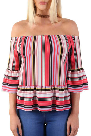 Candy Stripe Bardot Peplum Hem And Sleeve Top in Red 3
