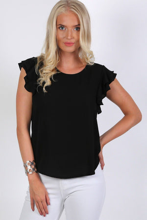 Double Frill Cap Sleeve Blouse in Black 0
