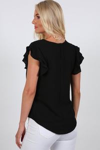 Double Frill Cap Sleeve Blouse in Black 1