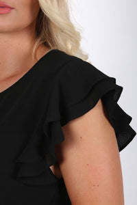 Double Frill Cap Sleeve Blouse in Black 2