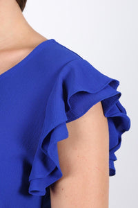 Double Frill Cap Sleeve Blouse in Royal Blue 2