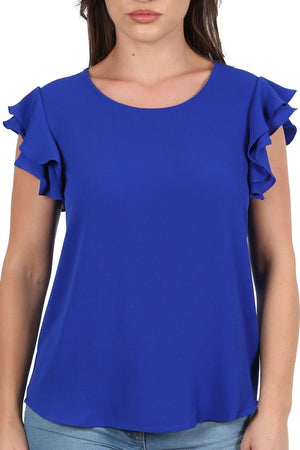 Double Frill Cap Sleeve Blouse in Royal Blue 4