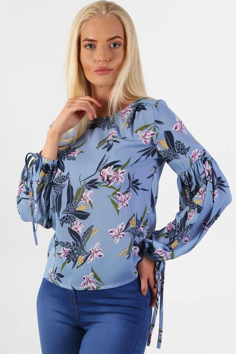 Floral Print Balloon Sleeve Top in Blue 1