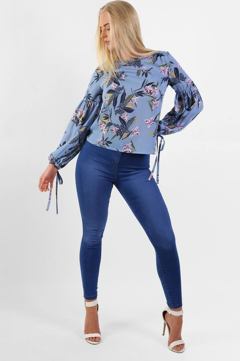 Floral Print Balloon Sleeve Top in Blue 2
