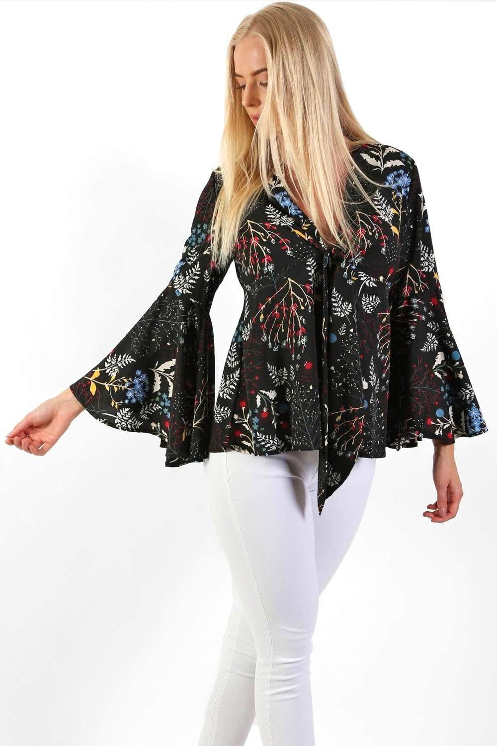 Floral Print Bell Sleeve Tie Detail Smock Top in Black 0