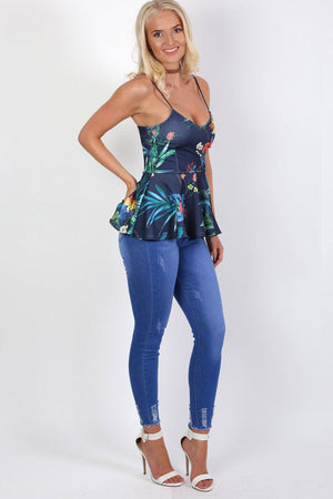 Floral Print Strappy Peplum Top in Navy Blue 2