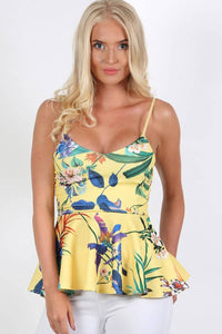 Floral Print Strappy Peplum Top in Yellow 0