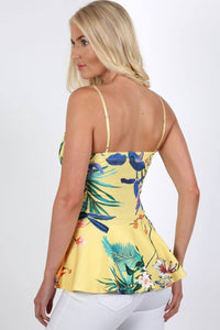 Floral Print Strappy Peplum Top in Yellow 1