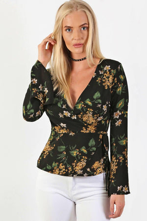 Fluted Flower Print Wrap Front Peplum Frill Top in Black 1