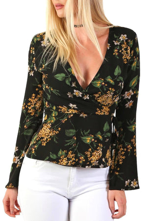 Fluted Flower Print Wrap Front Peplum Frill Top in Black 3