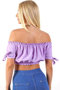 Ruched Bardot Gypsy Crop Top in Lilac 1