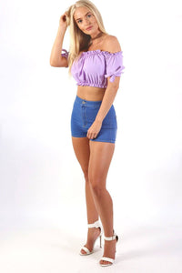 Ruched Bardot Gypsy Crop Top in Lilac 2