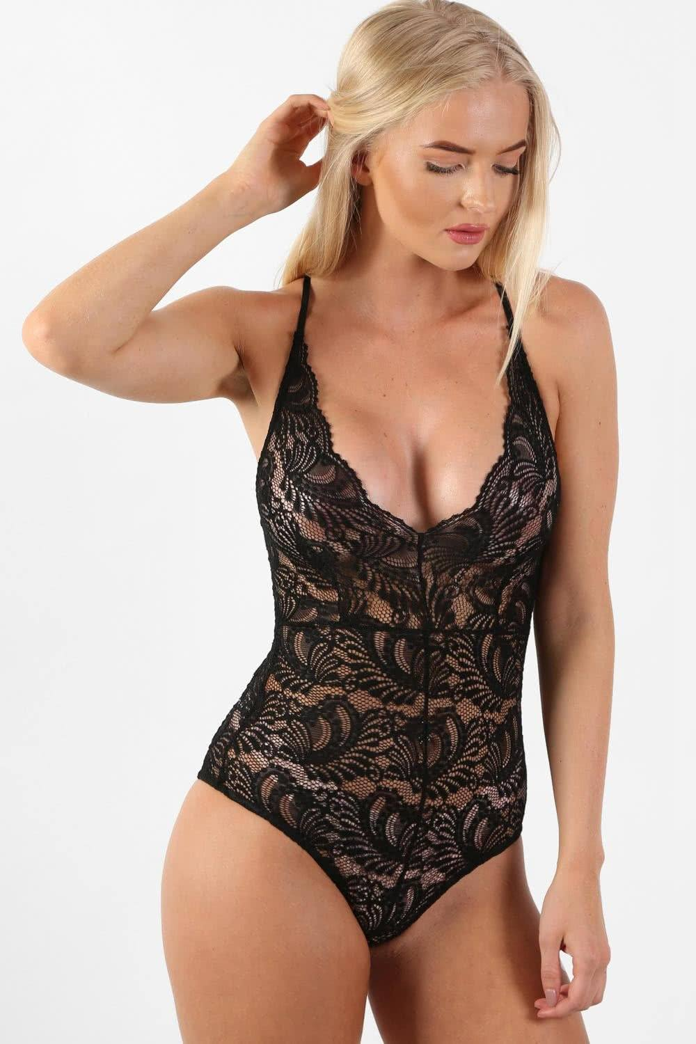Sheer Lace Cross Back Bodysuit in Black 0