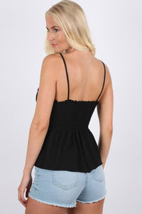 Shirred Strappy Frill Hem Crop Top in Black 2