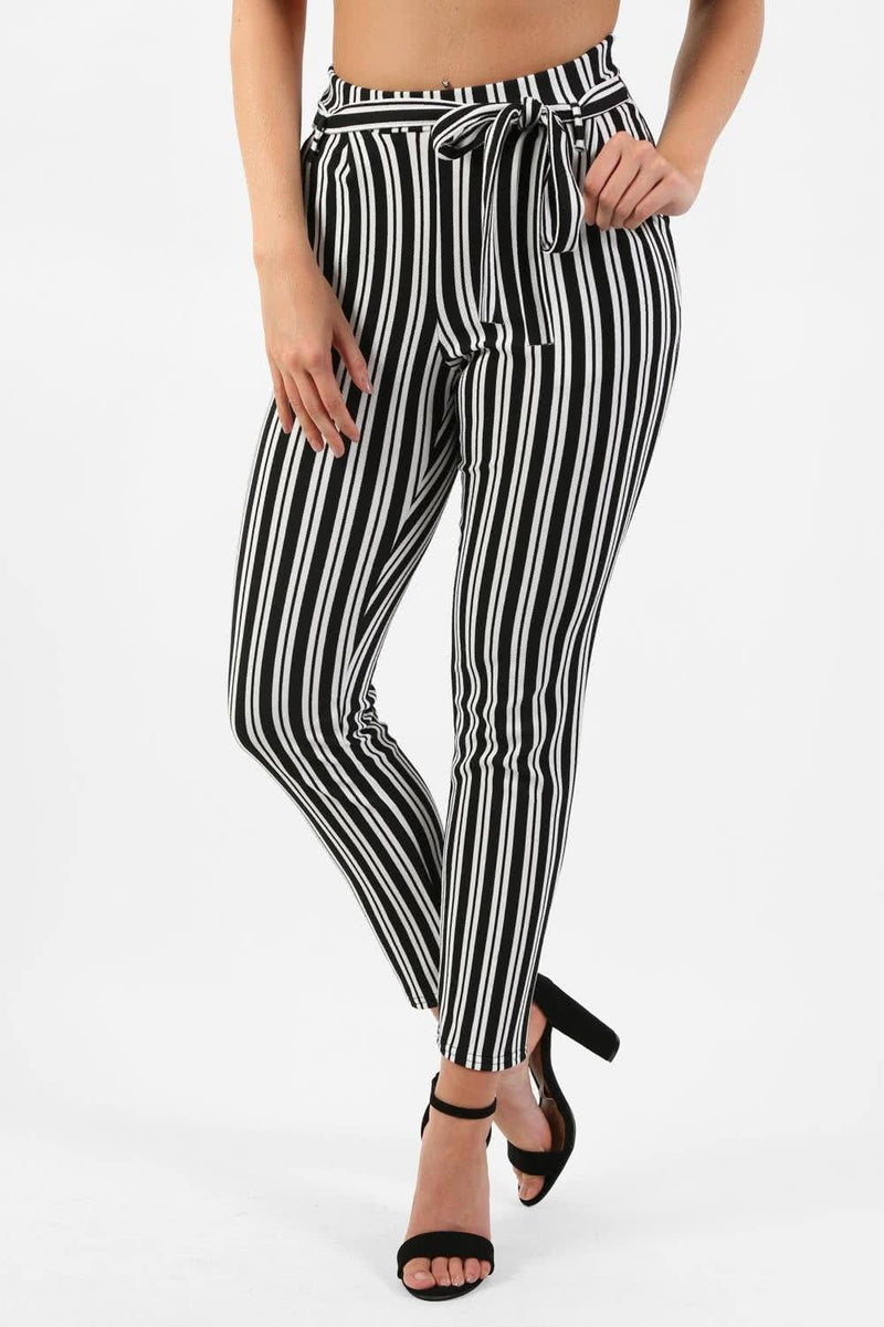 Monochrome Stripe Belted Crepe Trousers in Black 0