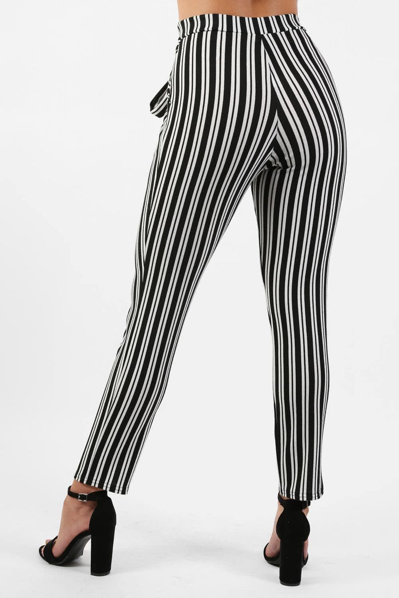 Monochrome Stripe Belted Crepe Trousers in Black 1