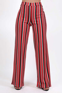 Multi Stripe High Waist Wide Leg Trousers in Red 0