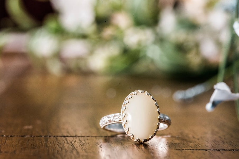 Floral Elegance with Oval Stone