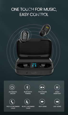 Bluetooth earphone with mic and power bank