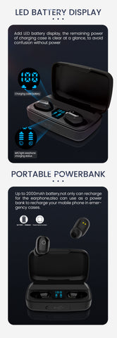 wireless earphone with mic and powerbank