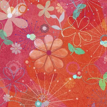 3 Wishes Fabric Good Dogs Digital Print Flowers Red & Orange
