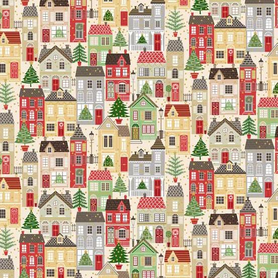 Andover Fabrics Silent Night Houses Multi