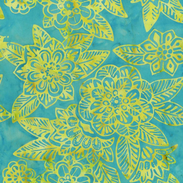 Anthology Fabrics - Dreamland Tattoo Floral - Turquoise