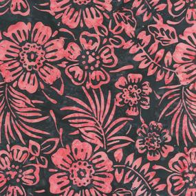 Anthology Fabrics Flowers - Black and Pink