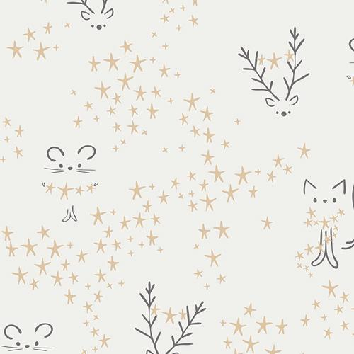Art Gallery Fabrics Little Town Starbright Frost White