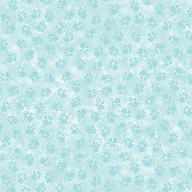 Benartex Paw Prints - Light Teal