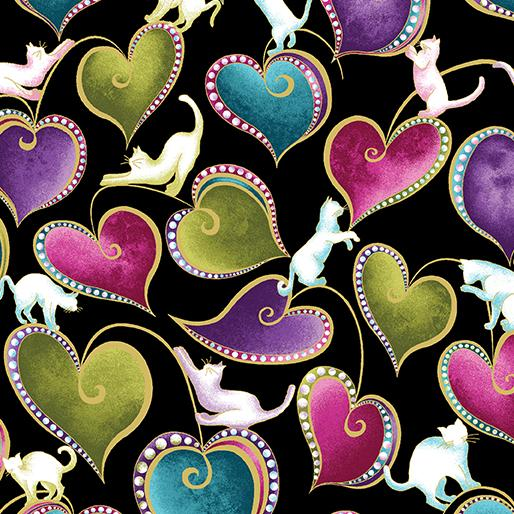 Benartex Cat-i-tude Hearts and Cats Black/ Multi