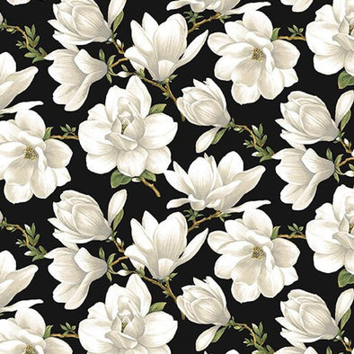 Benartex Magnolia Blooms Allover Creaml/Black