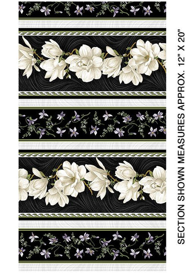 Benartex Magnolia Blooms Stripe Cream/Black