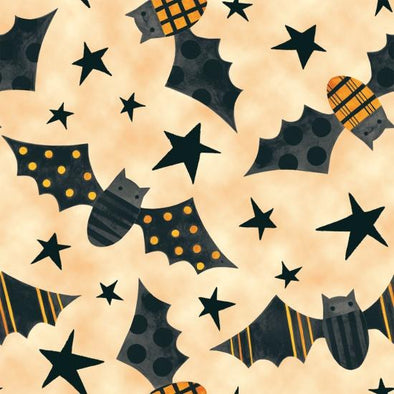 Blank Quilting Too Cute to Spook Bats Orange