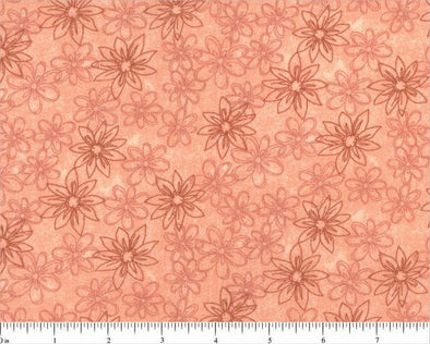 Choice Fabrics Quilt Backing-Sketched Floral Coral