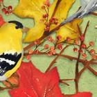 Clothworks Fall Feast Birds & Leaves Multi