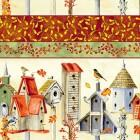 Clothworks Fall Feast Border Birdhouses
