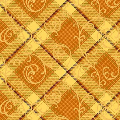 Henry Glass & Co Autumn Time Plaid Scrool Yellow