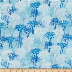 Exclusively Quilters Snowy Christmas Glitter Snowflakes Blue
