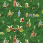 Fabri-Quilt Silent Night Nativity Green
