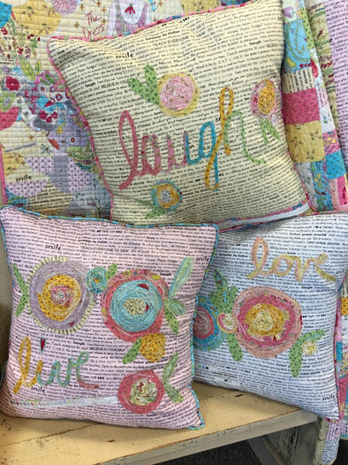 Fiberworks Laura Heine Live Laugh Love Pillows