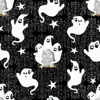 Henry Glass & Co Ghosts Allover Glow in the Dark - Black